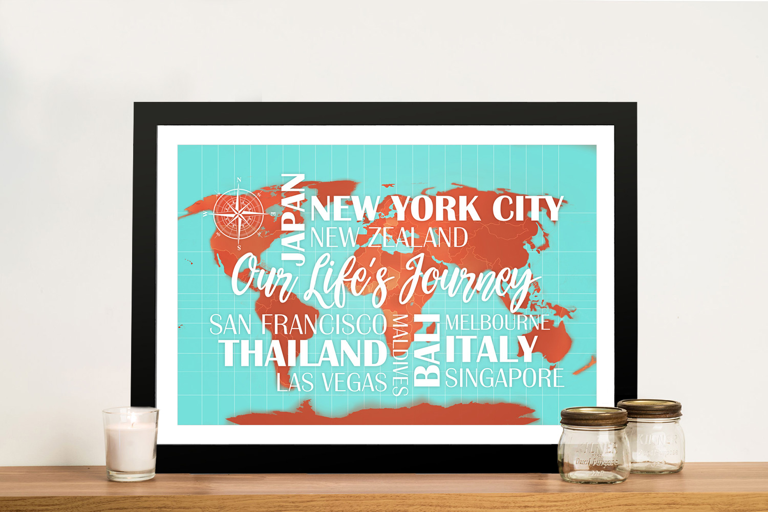 Personalised Push Pinboard Turquoise and Orange Travel Map | Turquoise and Orange Map with Words