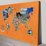 Bucketlist-WorldMap-Orange-BG-Canvas-Print-1