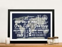 Dark Blue Push Pin Map with Words