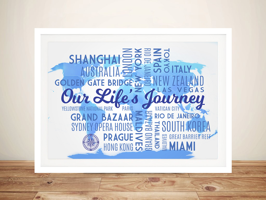 Personalised Blue Travel Map Word Artwork | Sky Blue Push Pin Map with Words
