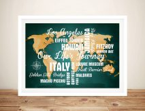 Personalised Green Push Pin Map with Words