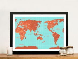 Pacific Centred Turquoise World Map