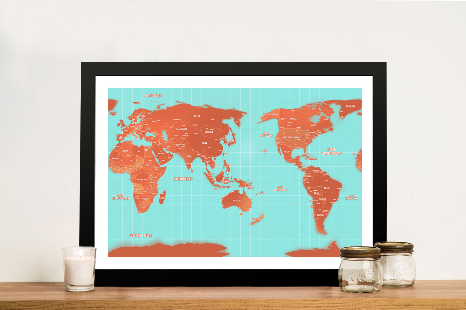 Pacific Centred Turquoise World Map | Australia-Centric Turquoise and Orange World Map