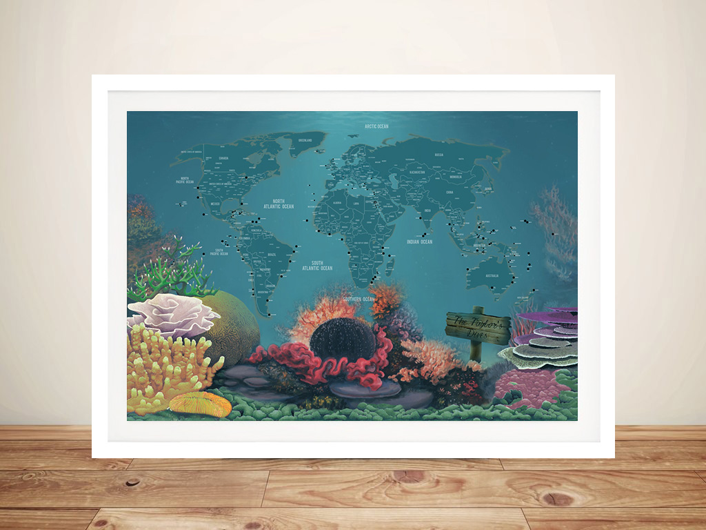 Diving Spots Personalised Map Framed Wall Art | Bucketlist Diving World Map with Pins