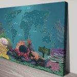 Bucketlist-Dive-Sites-World-Map-with-Pins-Canvas-Print