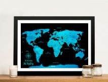 Electric Blue Custom Map with Pins