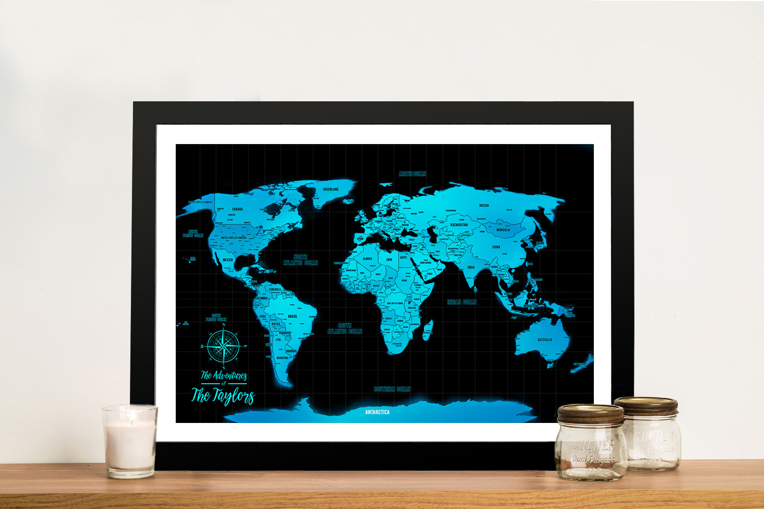 Electric Blue Custom Map with Pins | Electric Blue Push Pin World Map