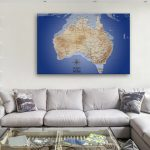 Australia-Map-Dark-Blue-Canvas-Artwork-Pins