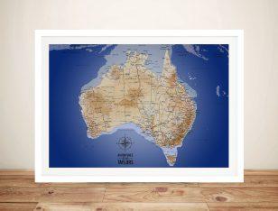 Australia Sea Blue Push Pin Map Art