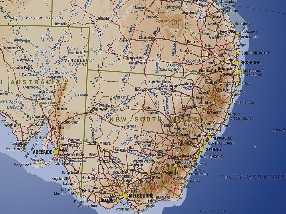 Detailed Map Of Australia.Australia Sea Blue Push Pin Map Art