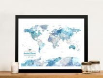 Personalised Blue Watercolour World Map Framed Wall Art