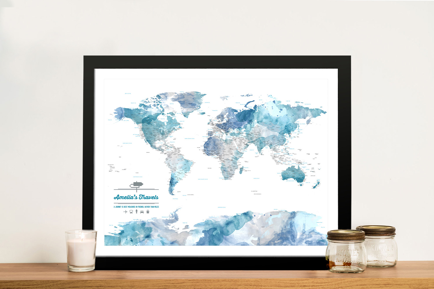 Personalised Blue Watercolour World Map Framed Wall Art | Blue Watercolour Pinboard Travel Map