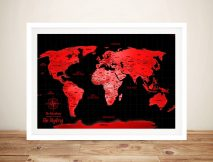 Personalised Neon Red Push Pin World Map