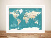 Personalised Green World Map Pinboard Art
