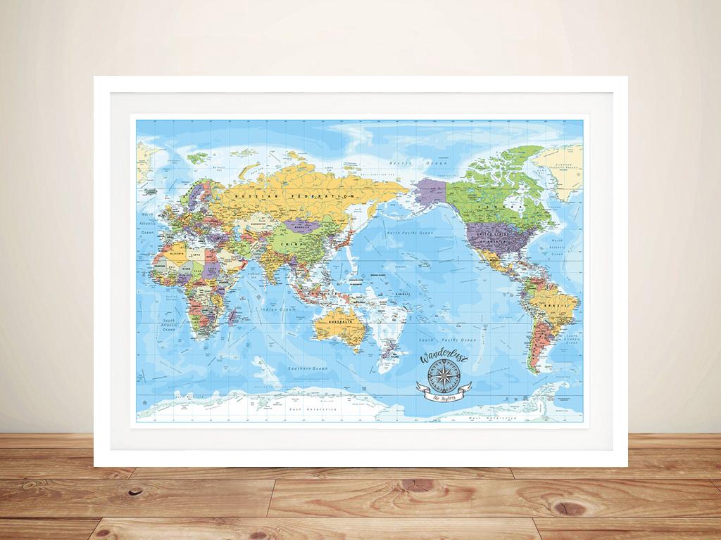 Custom Australia-Pacific Blue Centric Detailed Map | Australia-Pacific Blue Centric Detailed Map