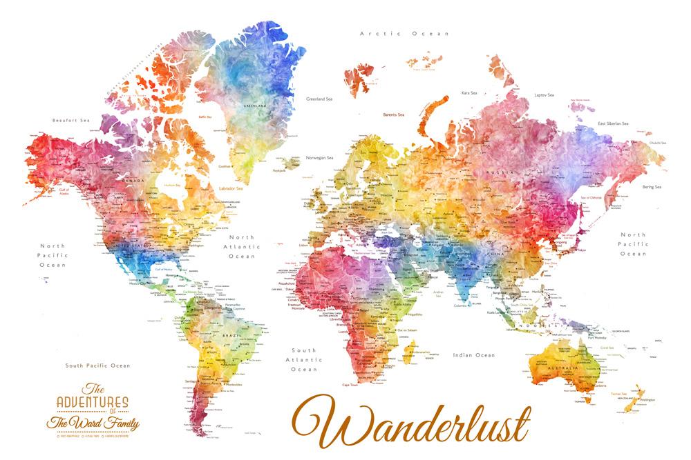 Buy Custom Watercolour World Map