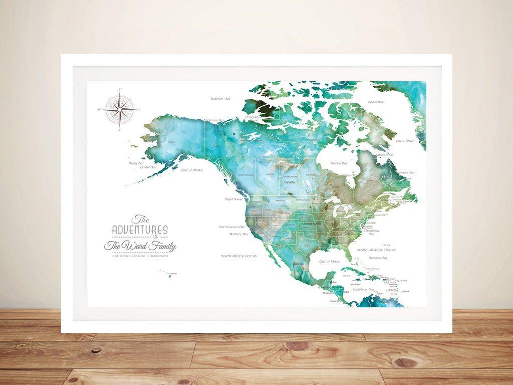 Custom North America Green Watercolour Map