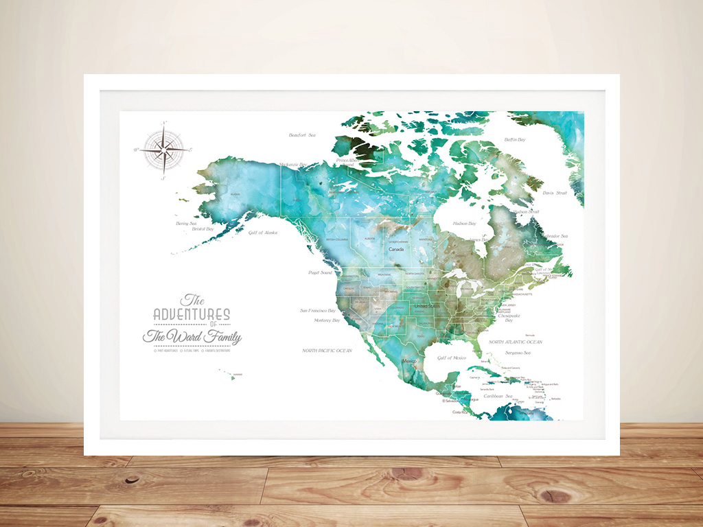 Custom North America Green Watercolour Map | North America Green Watercolour Map