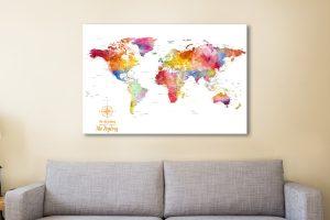 PushPin Board Travel Map Canvas Art