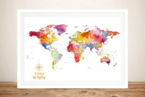 Watercolour Splash World Framed Wall Art