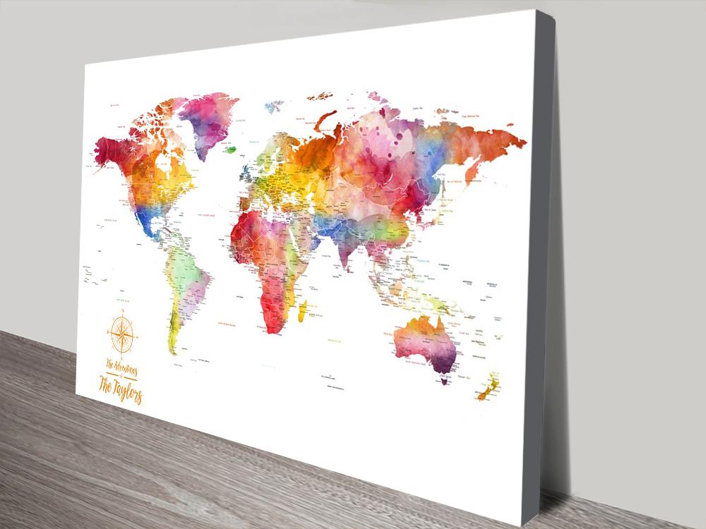 Watercolour Splash World Map canvas print