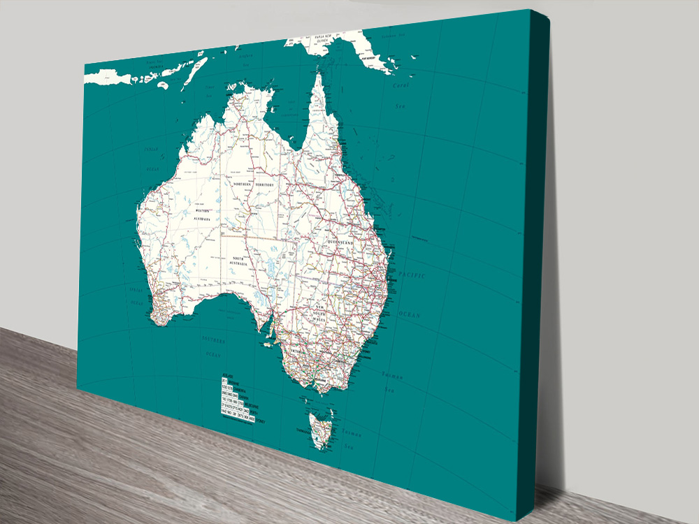 Personalised Australia Dark Teal Pinboard Map Art