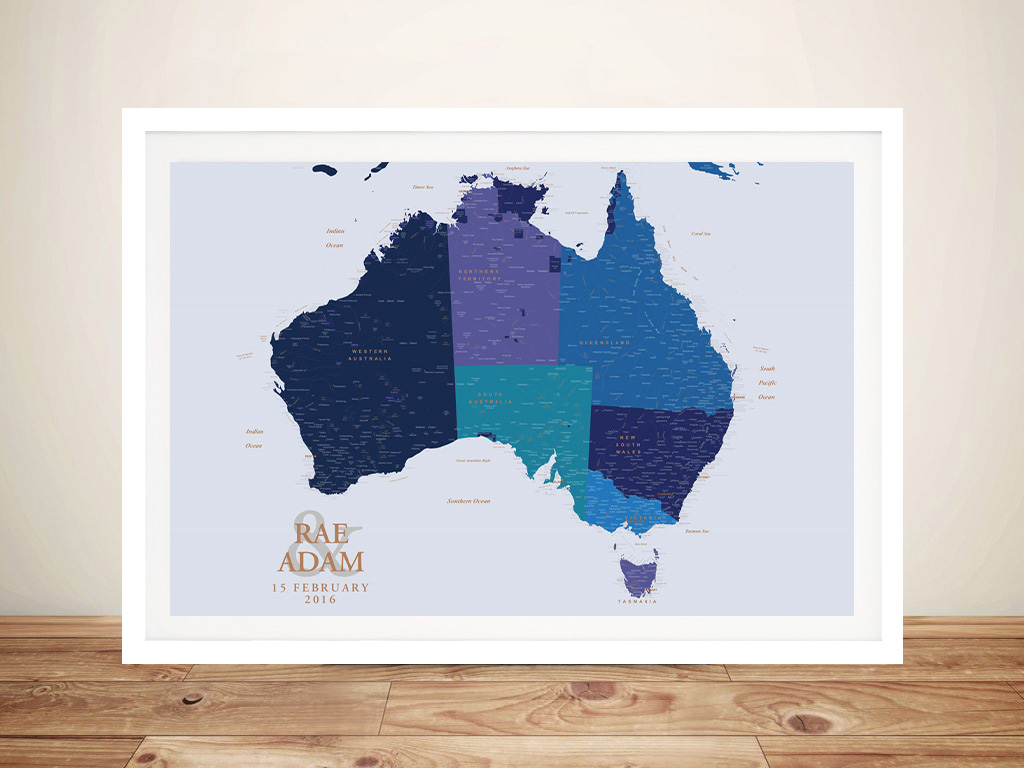 Personalised Blue & Gold Australia Push Pin Map | Blue & Gold Australia Push Pin Map