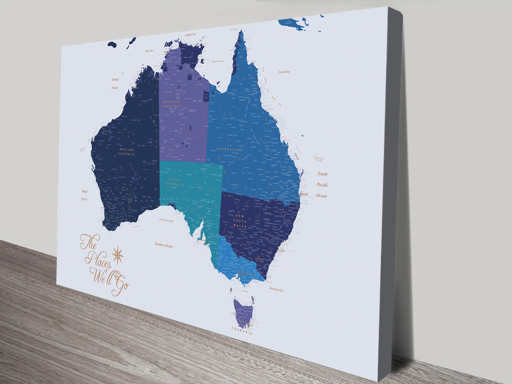 Australia Map Blue and Gold canvas print