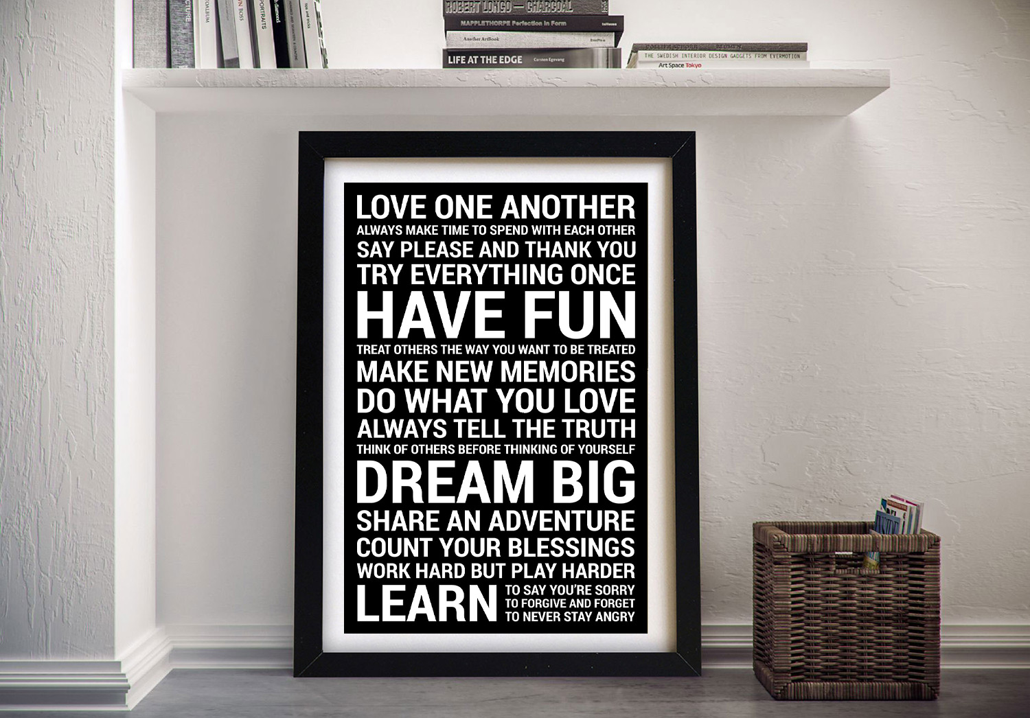 House Rules Bold Black Framed Wall Art | House Rules – Bold in Black