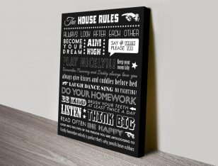Personalised Mixed Font House Rules Canvas Print