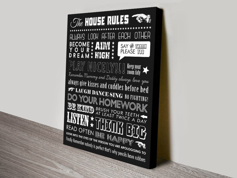 Personalised Mixed Font House Rules Canvas Print | House Rules – Mixed Font