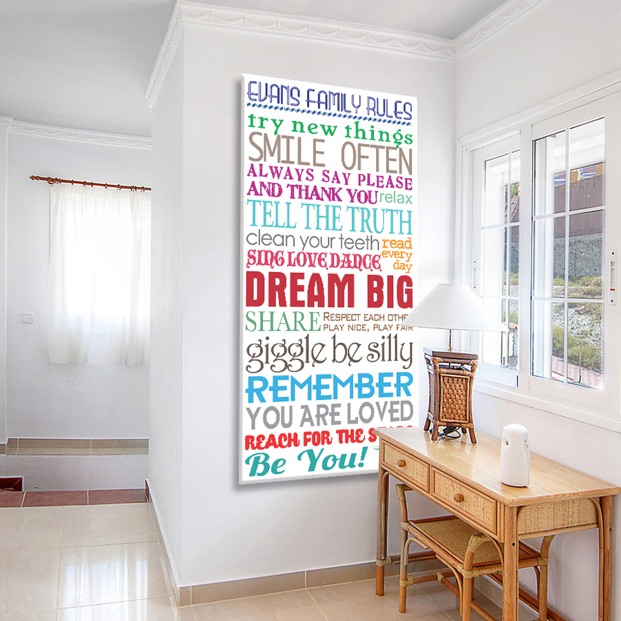 House Rules Multi Font Tram Scroll Canvas Artwork | House Rules Multicolour Tram Scroll