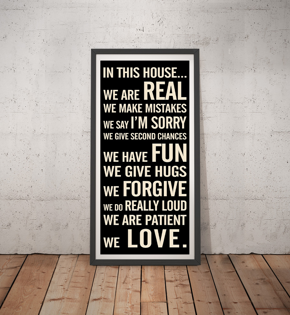 Personalised House Rules Tram Scroll Wall Art | House Rules Tram Scroll