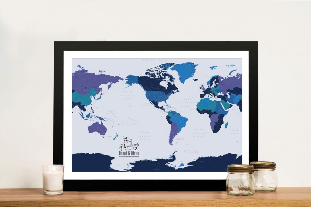 Personalised Pacific Central Blue Gold Push Pin Map