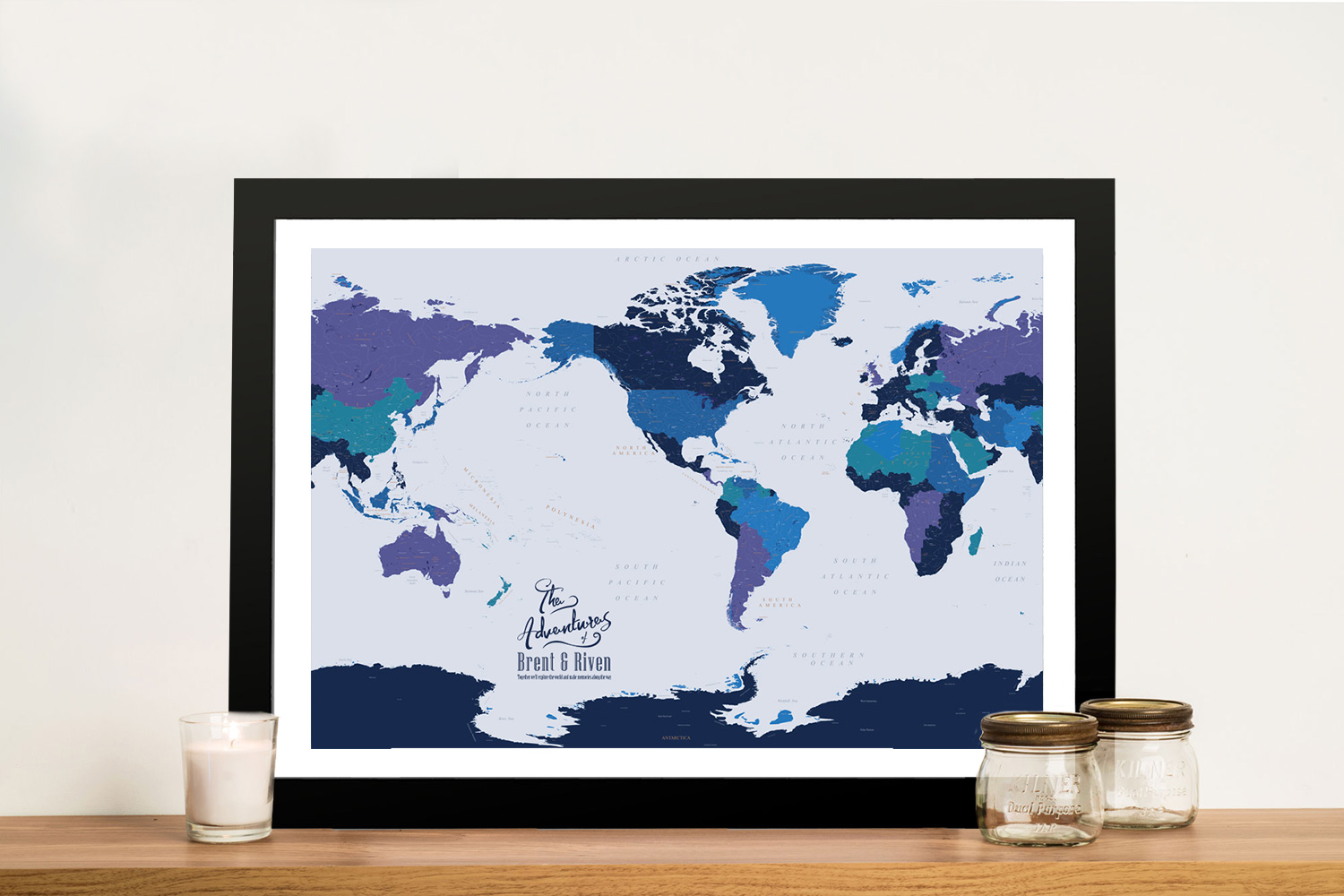 Personalised Pacific Central Blue Gold Push Pin Map | Pacific Central Blue Gold Push Pin Map