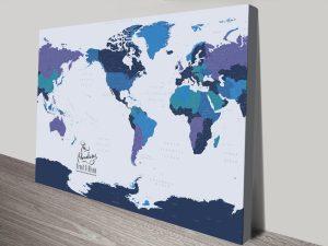 Buy a Blue & Gold Custom Map Canvas Print