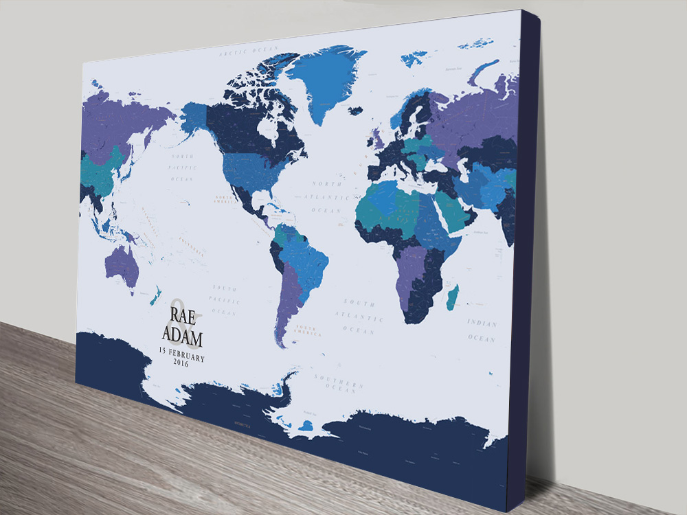 Personalised Blue Gold Pushpin Map Canvas Print