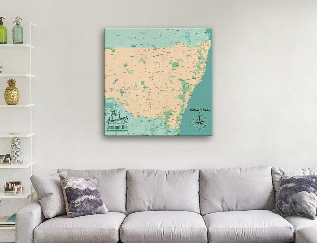 New South Wales Push Pin Map Pinboard-Map Canvas Artwork
