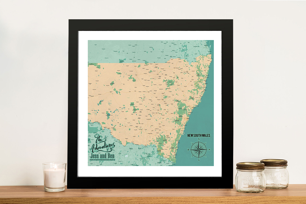 New South Wales Push Pin Map Framed Artwork | New South Wales Push Pin Map