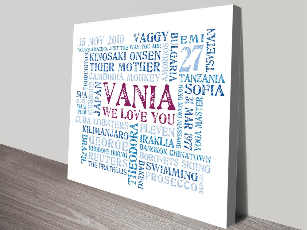 Personalised word canvas print | Elegant Word Cloud