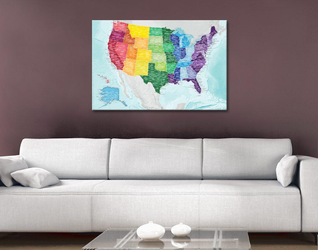 USA Custom Colour Map Canvas Artwork