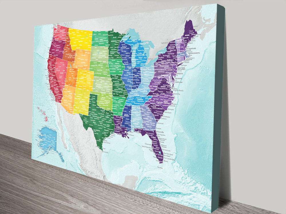 Multicoloured Personalised America Push Pin Travel Map