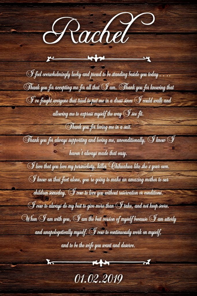 Wedding Vows Art Wood