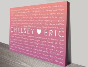 Personalised Warm Glow Wedding Vows Word Art