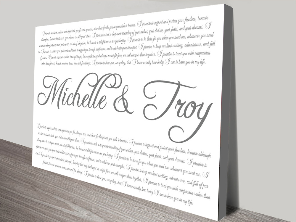 Wedding Vows Custom Word Art | Wedding Vows Italic Font