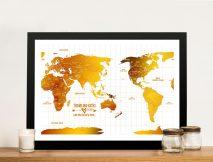 Australia Centred White Gold Push pin Framed Map