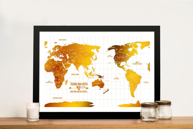 Australia Centred White Gold Push pin Framed Map | Australia-Centric White Gold Map