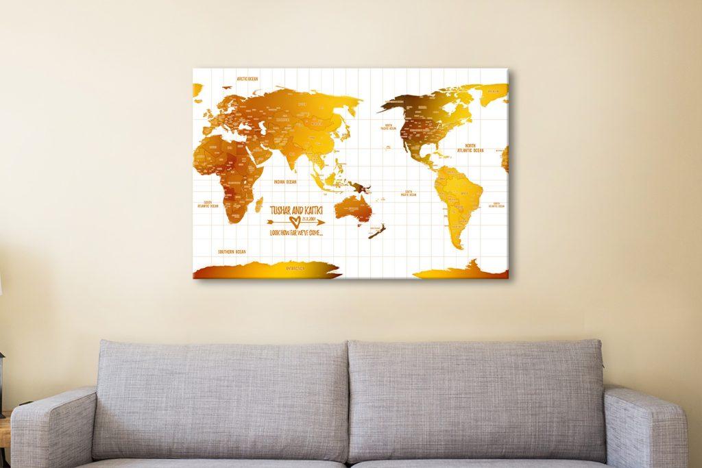 Personalised Australia-Centric White Gold Push Pin Map