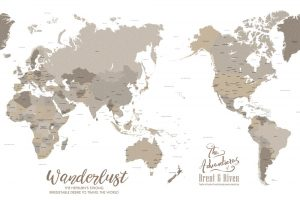 Bronzed Pacific Centric Map Art