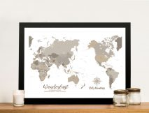 Buy Bronze Pacific Centric Map Wall Art